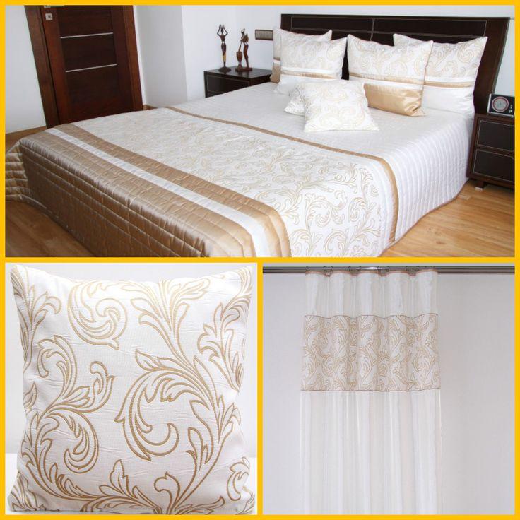 Dekoracyjne komplety sypialniane koloru ecru z cappucinowym wzorem