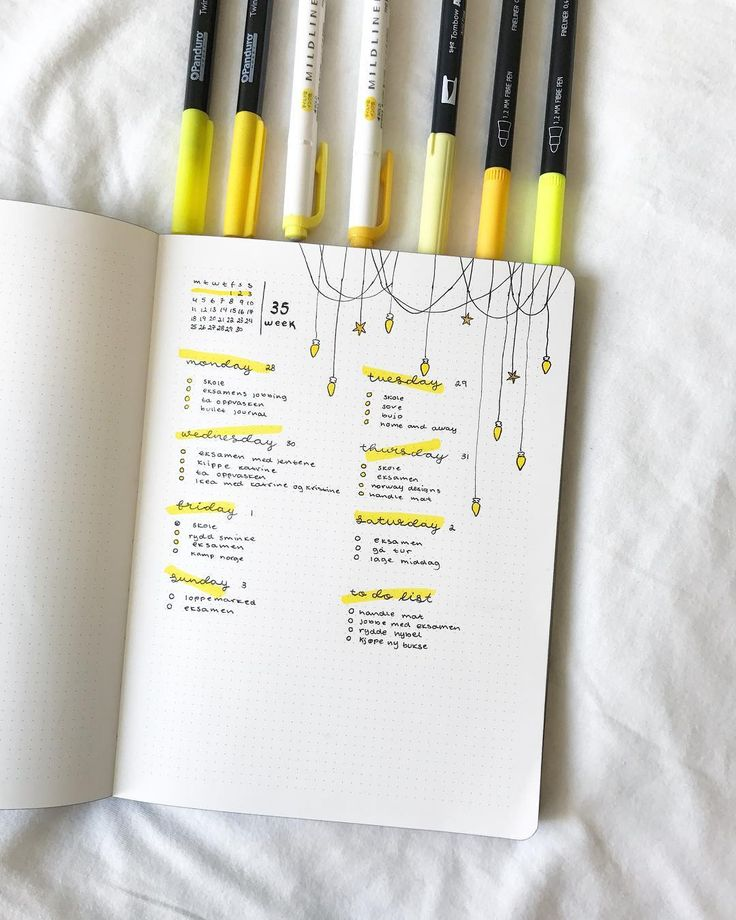Creative Organization: Bullet Journal Weekly Spread Ideas. Yellow Bujo Spread we love! Simple and beautiful planner weeklies