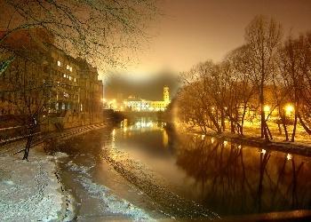 ~a winter night photo of Oradea~