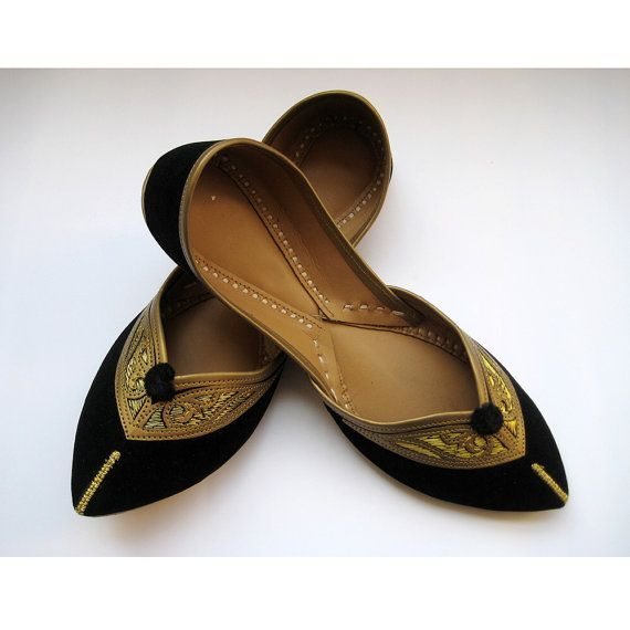 Black Flats/Ethnic Shoes/Velvet Shoes/Gold Shoes/Handmade Indian Designer Women Shoes or Slippers/Maharaja Style Women Jooties on Etsy, $32.10