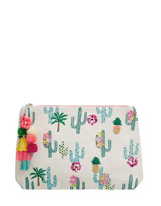 Bring tropical vibes to your bathroom with our cactus wash bag. Embroidered with pineapples, palm trees and flowers on a cool cactus print, this design is fi...