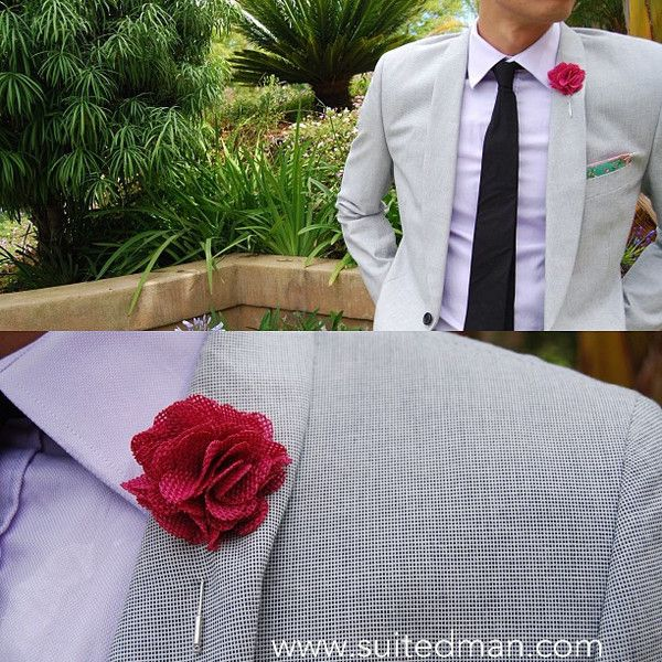 Pocket Square, Pink Cherry Blossom with Pink Embroidered Edge and Signature Leaf