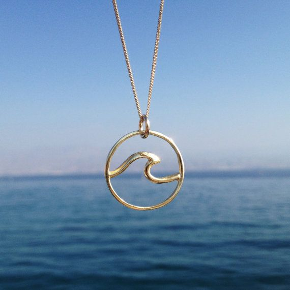 Nautical 18k Gold Platted Wave Necklace by Sharvit on Etsy