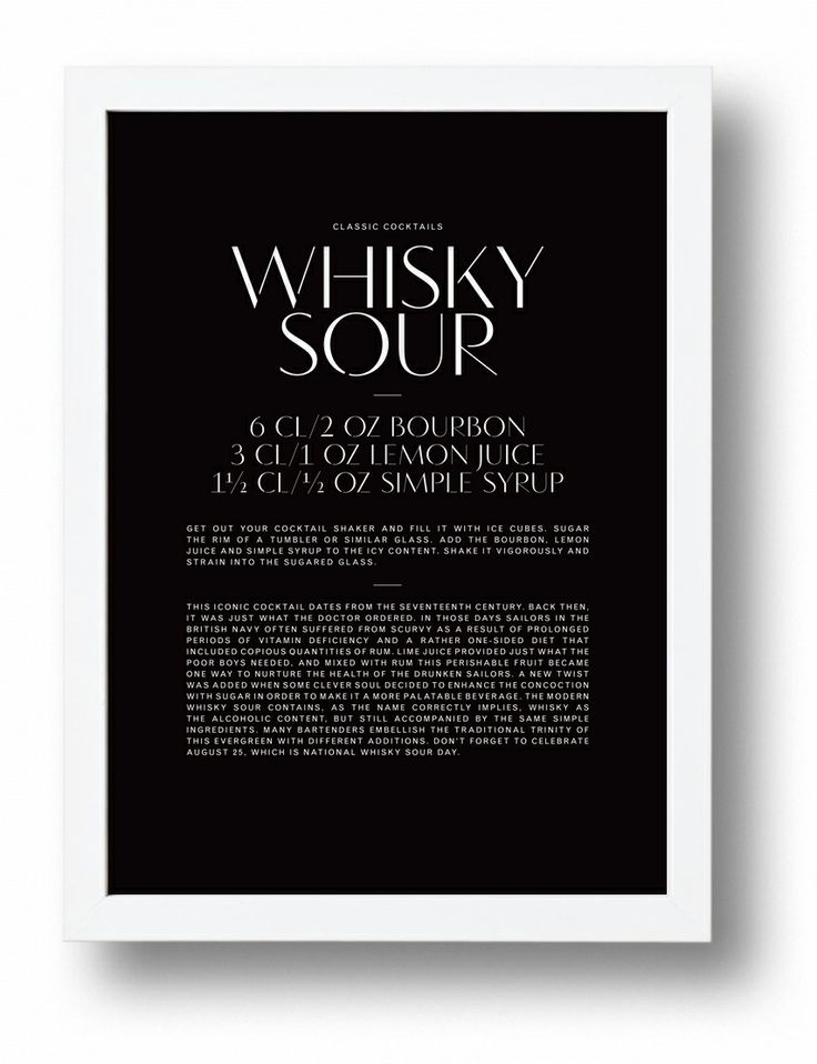 Whisky Sour typographic cocktail poster