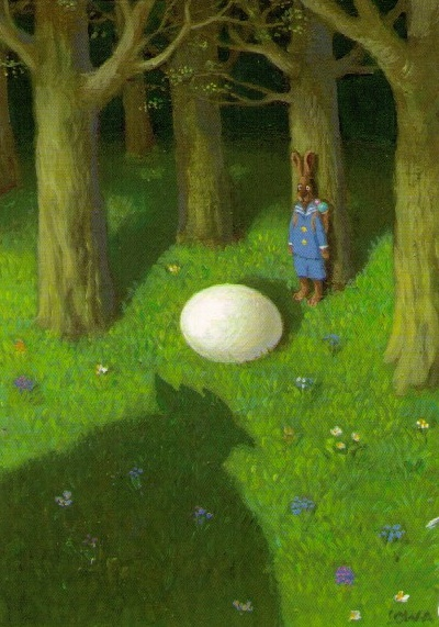 The shadow of the giant chicken strikes terror into the heart of the Easter Bunny. Lol. By Michael Sowa