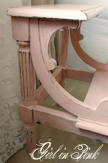Antoinette Annie Sloan chalk paint furniture piece by Girl in Pink ~ Love these bed steps in this color, mine are in a dark cherry color. Perhaps I will change them to this pink color. <3