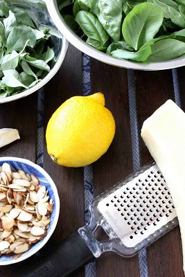 Lemon & Almond Basil Pesto - Not only does pesto freeze well for a mid-winter's brief glimmer of summer, but it is extremely versatile in its uses. It pairs beautifully with fish, such as mahi mahi or salmon, adds a burst of flavor to panini, and enhances a grilled pizza. By Cookin Canuck
