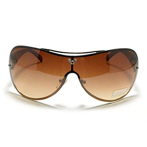a2842d4230 Oversized Rimless Shield Aviator Sunglasses Gold    To view further for  this item