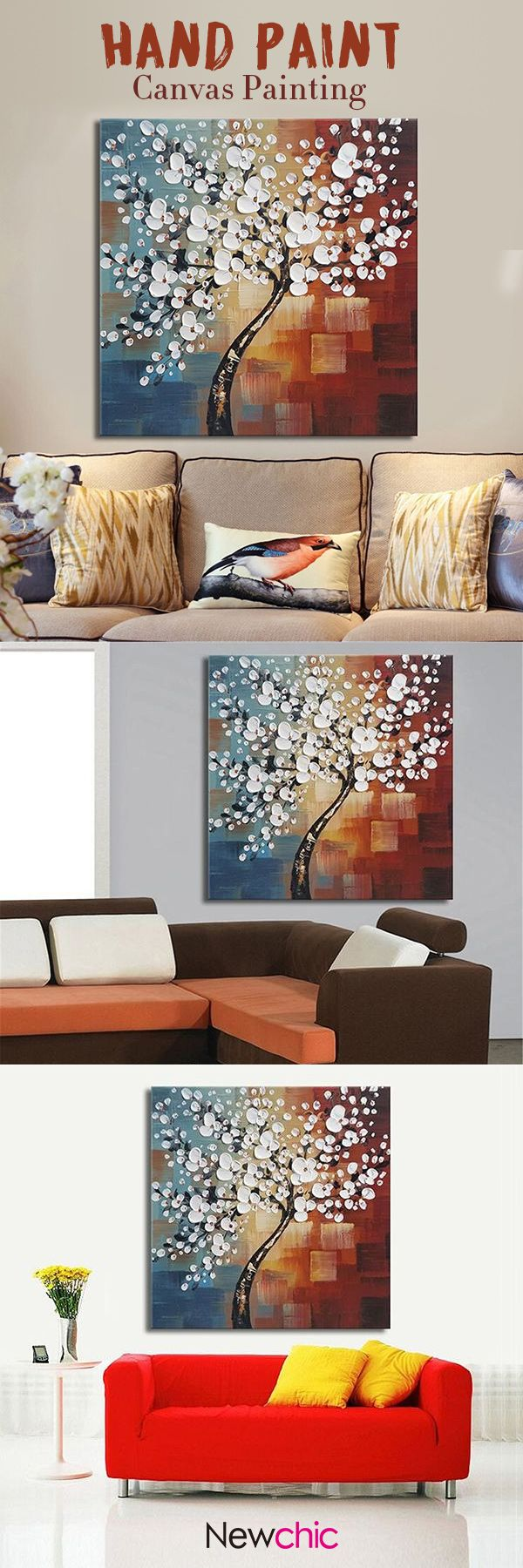 US800 Framed Hand Paint Canvas Painting Home Decor Wall Art Abstract Flower Tree Decoration