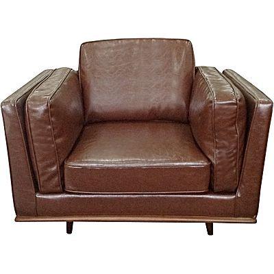 York Armchair, PU Leather, Brown