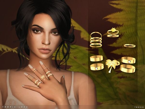 The Sims Resource: Anéis de amor tropicais por toksik • Sims 4 Downloads   – Sims 4
