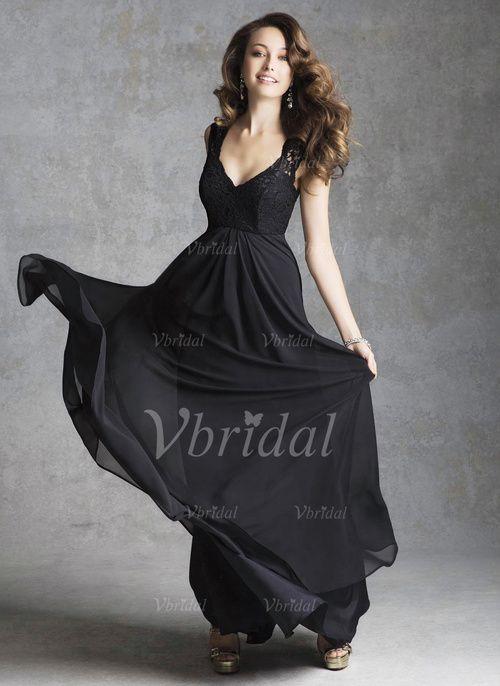 Empire V-neck Floor-Length Chiffon Bridesmaid Dress With Ruffle Lace (0075057471) - Vbridal