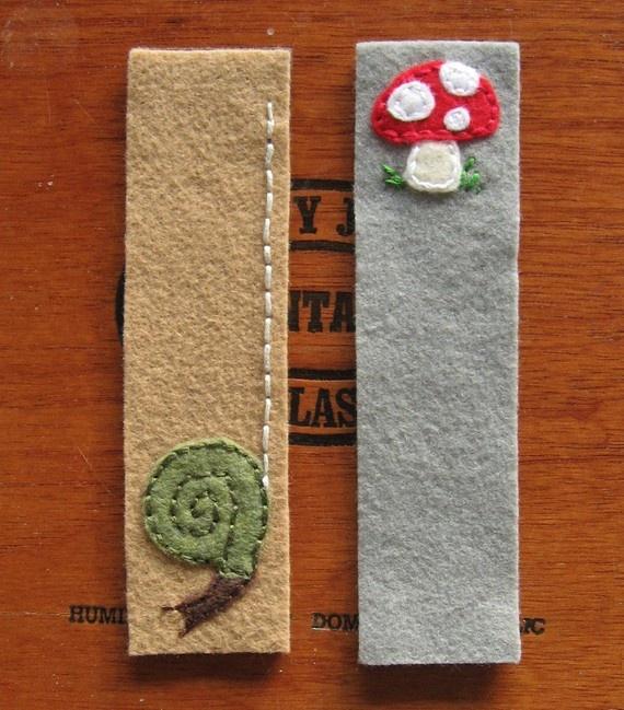 Felt bookmarks #bookmark #felt #snail #mushroom #DIY