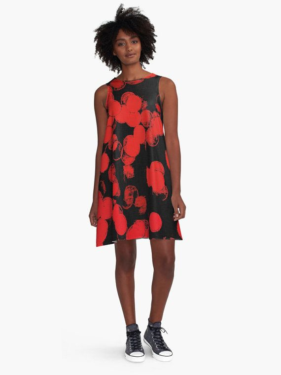 A-line Printed Dress, Red Bubbles, oversized dress, oversize tunic, loose dress, casual dress, sporty look, unique pattern straight from artists, summer design.  AD0009 - R...