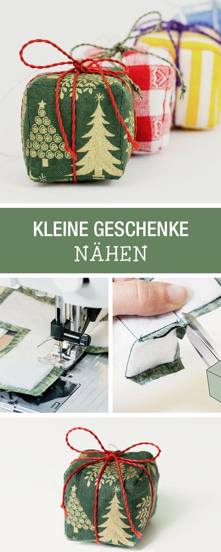 Weihnachtsdeko nähen: Kleine Geschenke aus Stoff für den Weihnachtsbaum / free diy tutorial for christmas decoration: sewing little presents via DaWanda.com