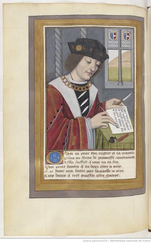 Ovide , Héroïdes ou Epîtres , traduction d' Octavien de Saint-Gelais, f°117v - Lettre d'Acontius à Cydippe