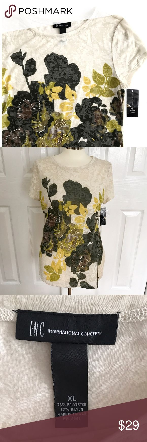 NWT INC Cream Shortsleeve Tshirt Floral design olive green, brown, lighter green and mustard yellow color with some rhinestones. Soft feel, cream, beige tee, sheer. Size extra large, fitted. New with tags. INC brand. 78% polyester 22% rayon. INC International Concepts Tops