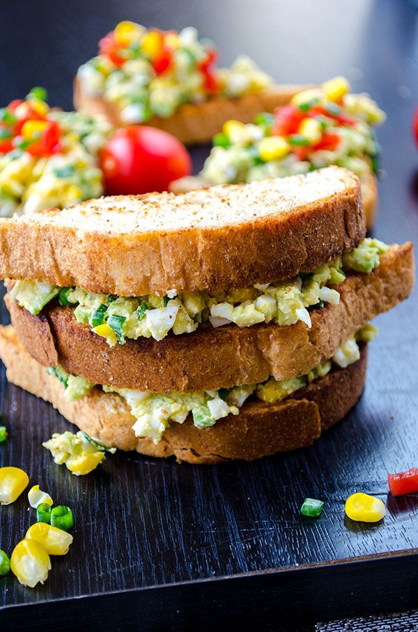 Avocado egg salad is a wonderful healthy salad that you can serve as bruschettas or sandwiches. It's ready in no time and disappears in a minute.  giverecipe.com    #eggsalad #avocadorecipes #healthysalad #bruschetta #eggandavocado
