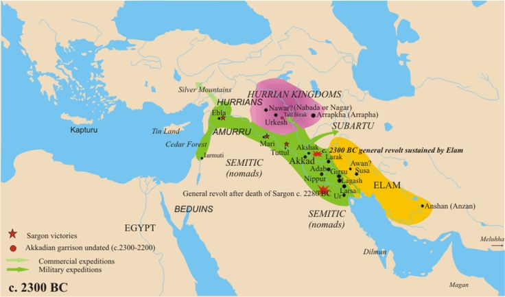 The empire of Sargon, late 24th century BCE.