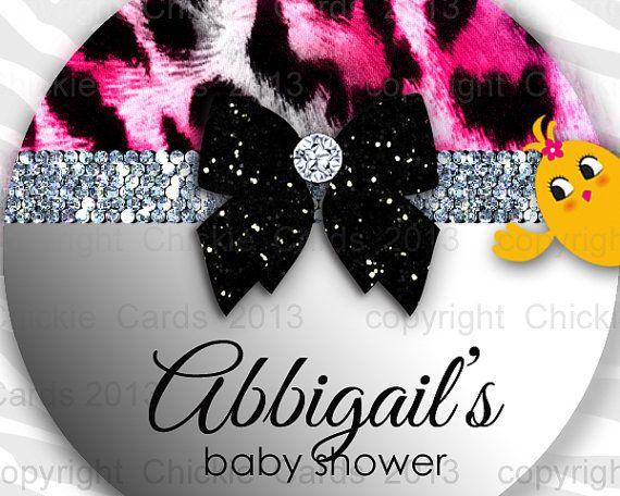 Leopard Sticker Baby Shower Round Instant Download by ChickieCards, $4.98