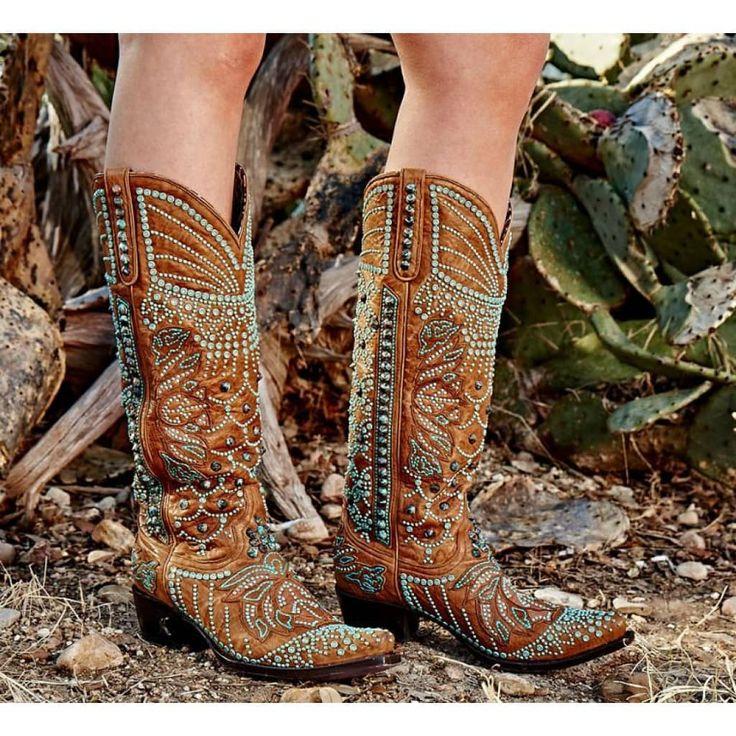 Kippys Victoria Spiked Tan Swarovski Crystal Boots PRE-ORDER - Cowgirl Kim