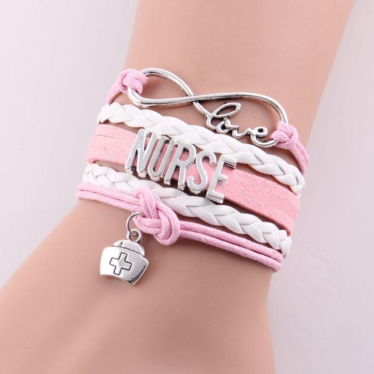 5 colors Best gift infinity love NURSE Bracelet hat charm leather rope wrap handmade bracelets bangles Custom made Drop Shipping