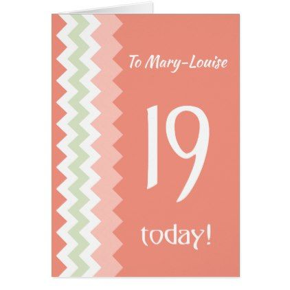 Custom Front 19th Birthday Coral Mint Chevrons Card