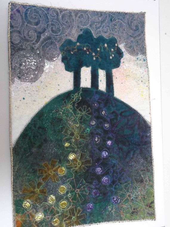Embroidered textile piece - 'Three trees on a hill'