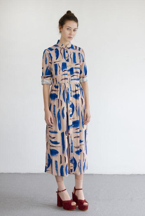 LENNY dress in Strokes print