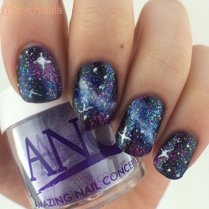 yet another try at galaxy nails! this is one of my favorite designs to do - 10 Best A*N*C Nails Images On Pinterest Glitter, Nail Ideas And