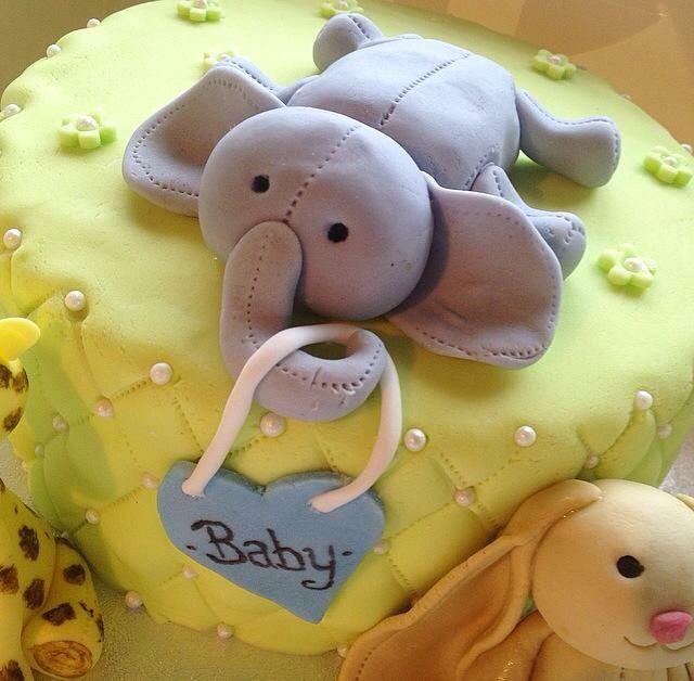 #Baby #Elephant #BabyBoy #BayShower #Cake