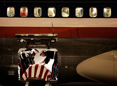 When 2nd Lt. James Cathey's body arrived at the Reno Airport , Marines climbed into the cargo hold of the plane and draped the flag over his casket as passengers watched the family gather on the tarmac.    During the arrival of another Marine's casket last year at Denver International Airport , Major Steve Beck described the scene as so powerful: 'See the people in the windows? They sat right there in the plane, watching those Marines. You gotta wonder what's going through their minds, knowin...: James Of Arci, 2Nd En, Flags, Airports, Rocky Mountain, James D'Arcy, Marines, Fallen Soldiers, Planes