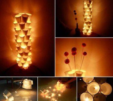 Crea unas Bonitas Lámparas con Vasos Desechables