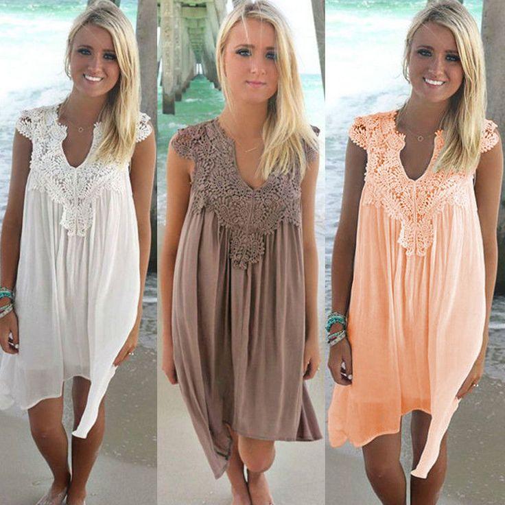 Fashion Women Sleeveless Lace Chiffon Dress V-Neck Casual Beach Party Dress