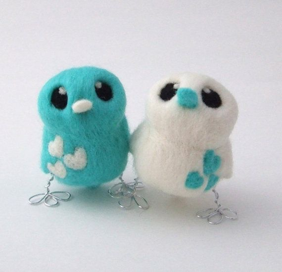 Bird Wedding Cake Topper Mint Green and Natural by feltmeupdesigns, £32.50