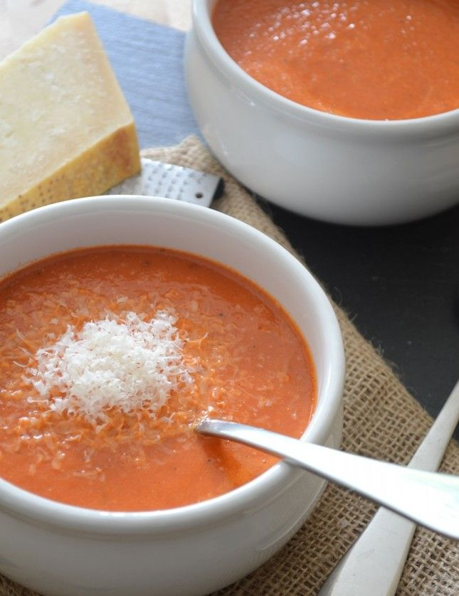 Make this creamy Roasted Red Pepper Soup in less than 20 minutes.