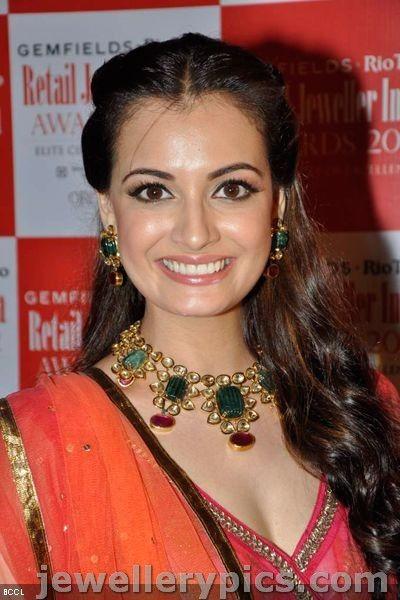 Beautiful Dia Mirza in ruby emarald polki necklace set - Latest Jewellery Designs