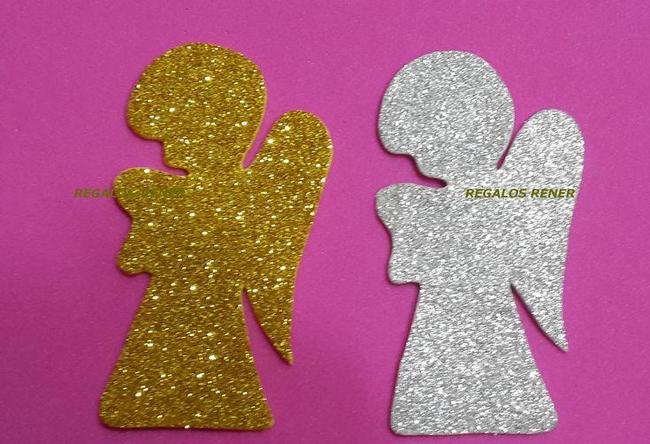 angelitos goma eva glitter 9,5 cm x 5,5 cm. Pack x 5 unidades  iguales (plateado o dorado)