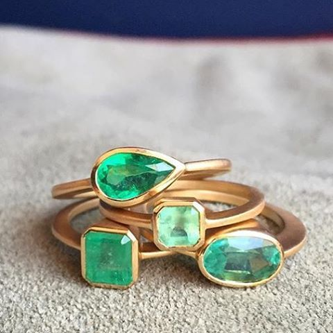 New Gillian Conroy Emerald Rings @metiersf @gillianconroyjewelry #emeraldring #handmadering #fortheages