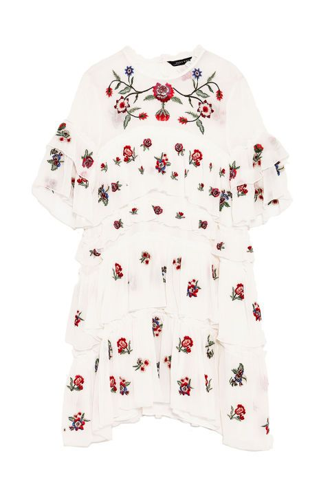 Exactly the whimsical dress you'll want to pack wherever you vacation (Europe, a tropical isle, what have you) this summer. Embroidered Mini Dress, $70; zara.com.