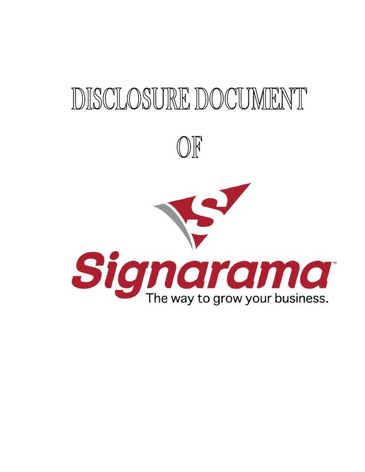 Download Franchise Disclosure Agreement For SignARama Business