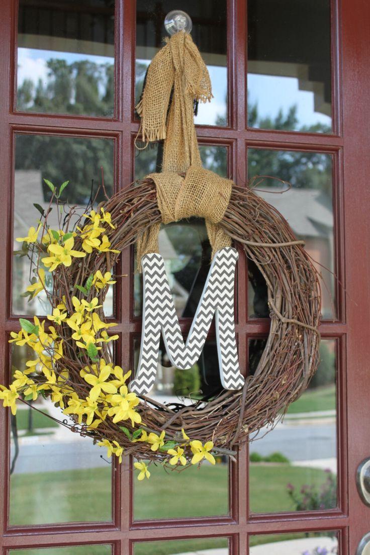 Spring Burlap Chevron Initial Wreath by DoorDecor4U on Etsy https://www.etsy.com/listing/161295806/spring-burlap-chevron-initial-wreath