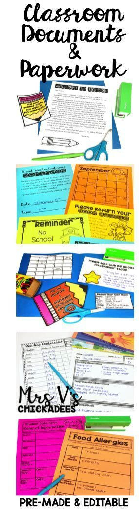 Classroom Forms, Documents and Paperwork in Pre-Made and Editable Form! Perfect for classroom organization and parent communication. Some of the forms include parent-teacher conference slips, reminder slips, welcome letters, scholastic sheets, homework sh