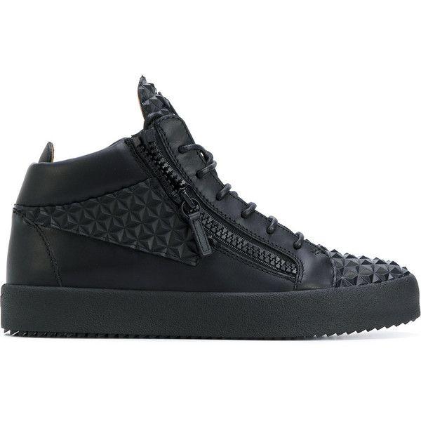 Giuseppe Zanotti Design Kriss hi-top sneakers ($653) ❤ liked on Polyvore featuring men's fashion, men's shoes, men's sneakers, black, giuseppe zanotti mens sneakers, mens sport shoes, mens high top sneakers, mens black shoes and mens black sneakers