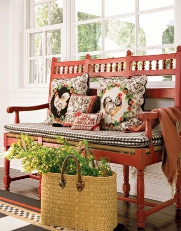 French Country Bench & Pillows.. // Encontrado en countryliving.com Kitchen Colors Country Living A couple in Santa Monica chose a palette for their kitchen--red, white, and black--that feels limitless. .