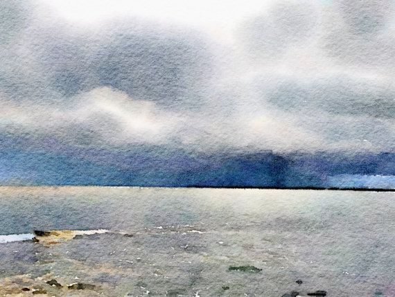 Watercolor Print  Storm at Kings Beach  Seascape