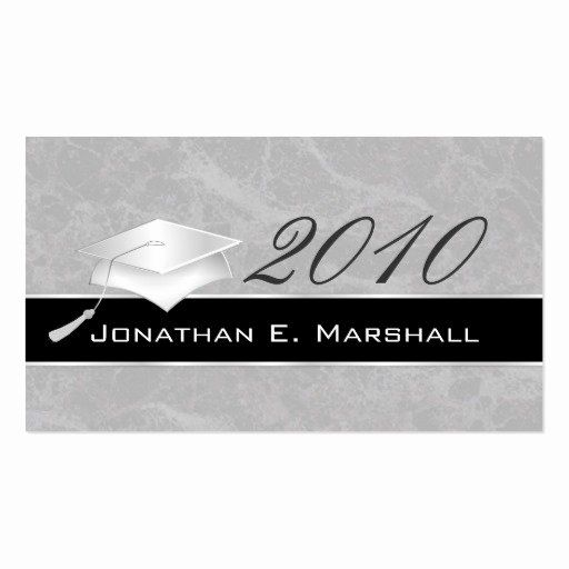 Free Printable Graduation Name Cards Luxury Elegant Silver Graduation Name Card Insert Double Sided Card Template Create Business Cards Printing Business Cards