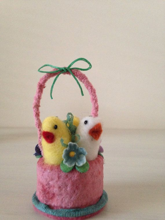 Spun cotton Basket of Chicks by Maria Pahls by MRCROWSGARDEN, $19.99