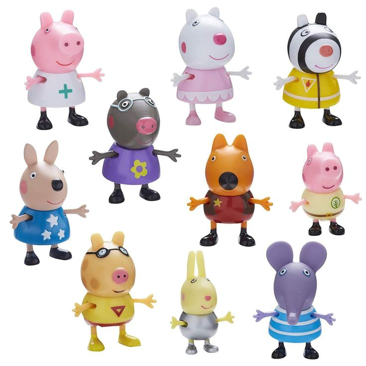 Peppa Pig collectable 10 pack of figures in fun dress up costume designs! Each figure is articulated with moving arms & legs. One ten figure pack su...
