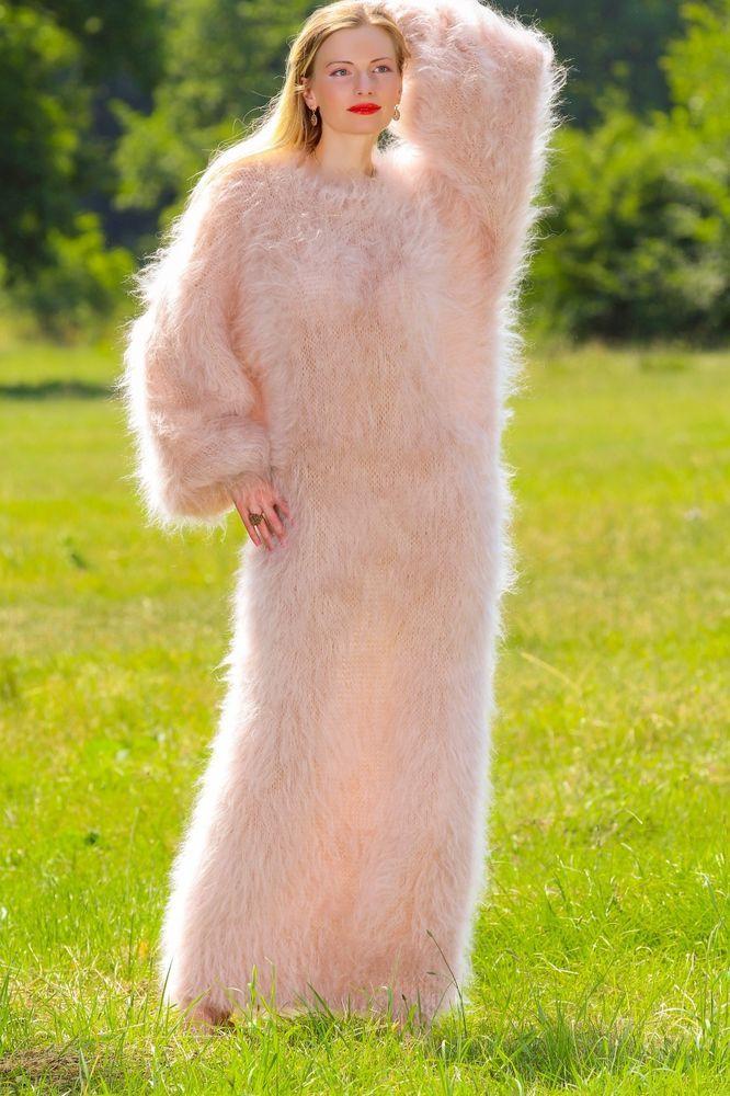 Beige Hand Knitted Mohair Sweater Soft SLOUCHY Long Dress SUPERTANYA S M L XL